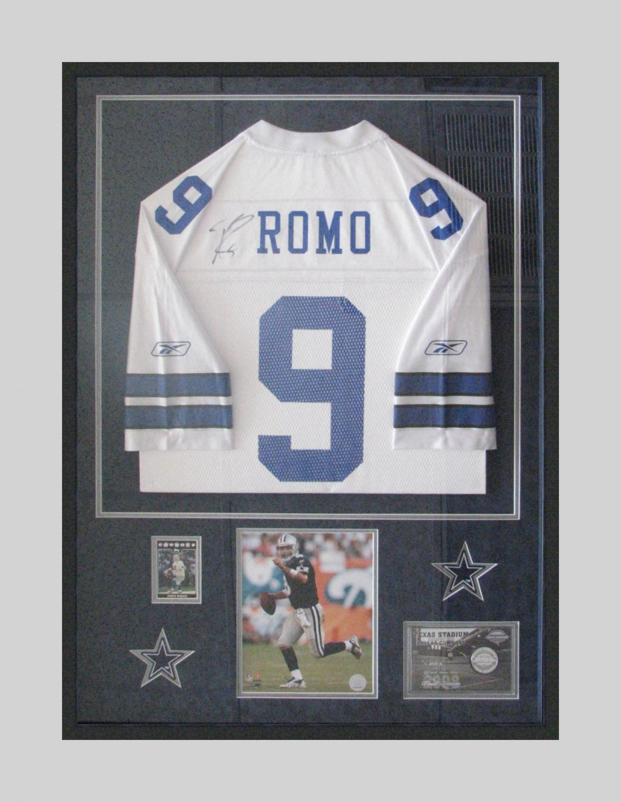 San antonio fastframe terrell owens framed football jersey shadowbox framing of tony romo football jersey jeuxipadfo Gallery